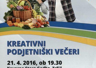 Ljudska univerza Tržič Kreativni podjetniški večeri 2016 Gost Primož Krišelj tema kmetijstvo vabilo 3a